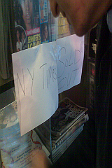 Sold Out signs at a Universal News in Midtown