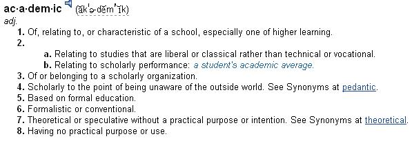 Definition of 'academic' - The Free Dictionary