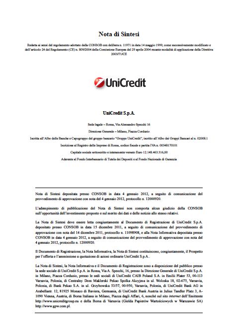 Unicredit prospectus