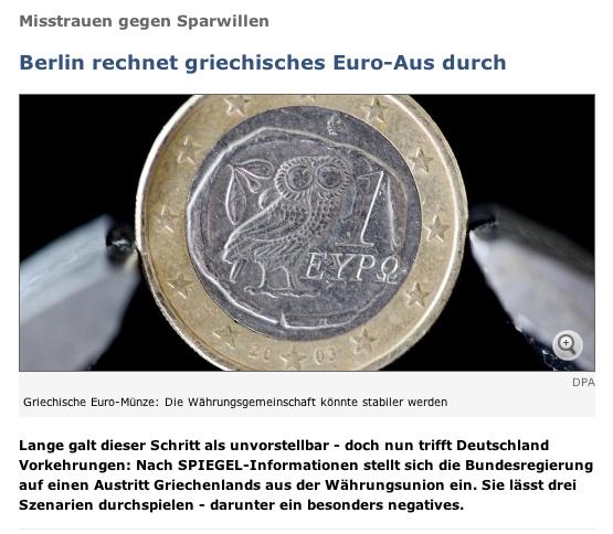 Der Spiegel on Greece and the Euro