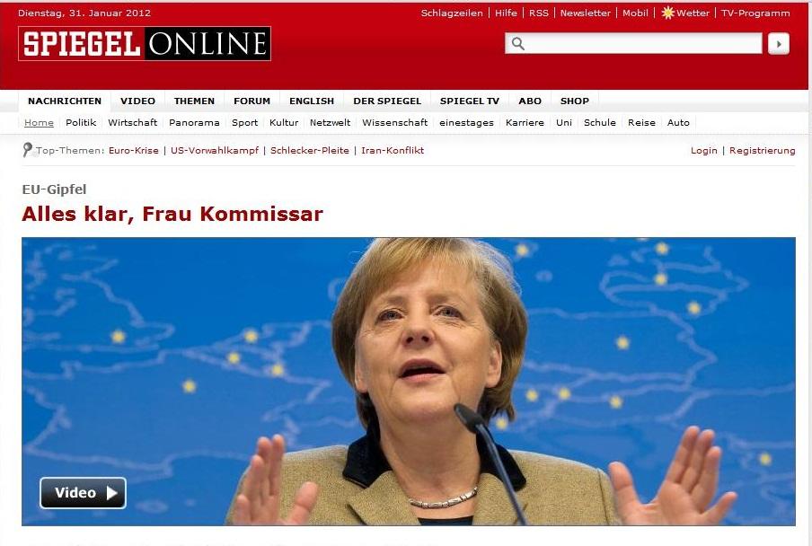 'Alles Klar, Frau Kommissar' - Der Spiegel splash screenshot, 31/01/2012