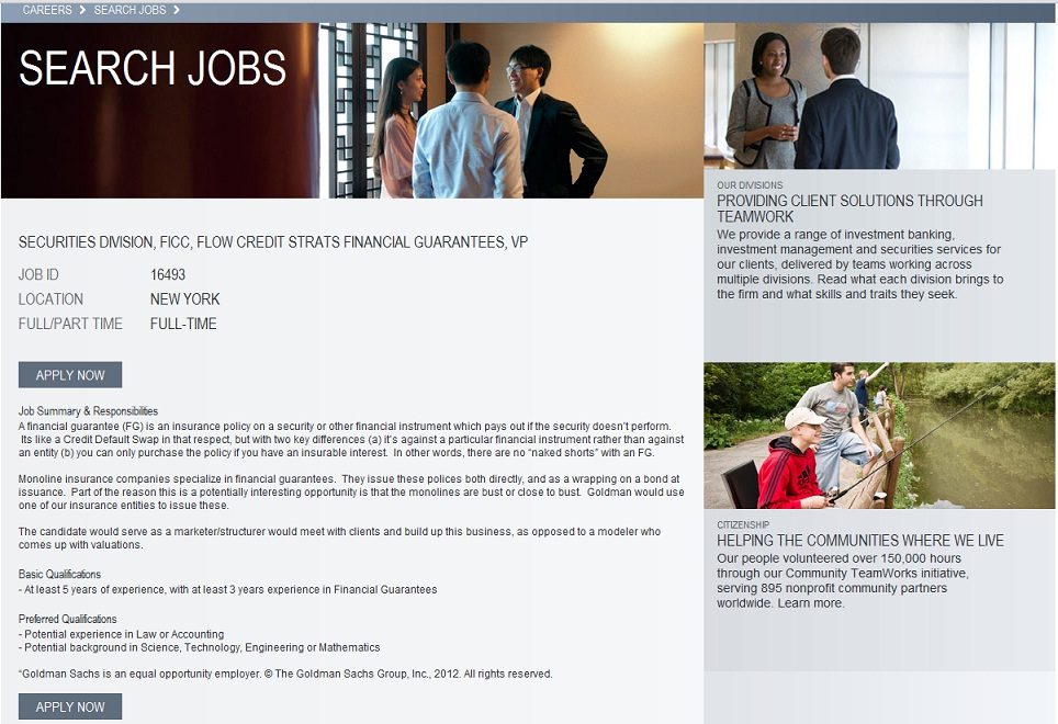 Screenshot of the Goldman monolines VP job advert