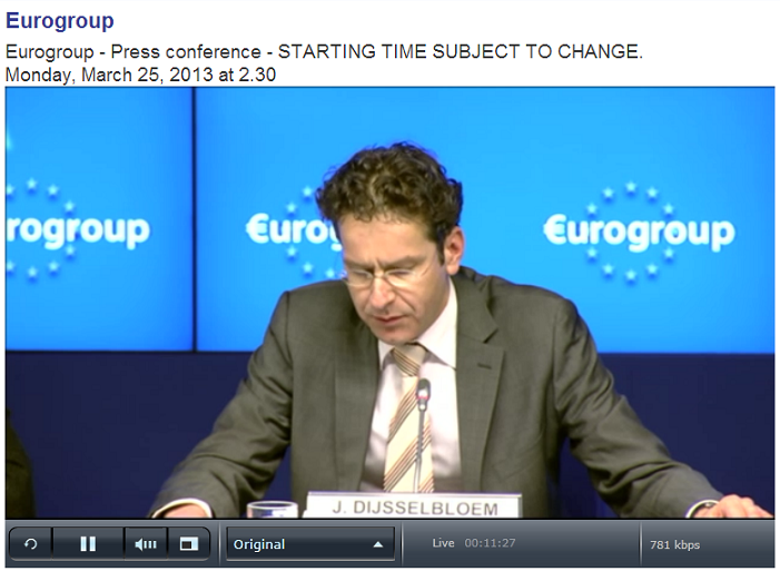 Eurogroup press video screenshot Dijsselbloem